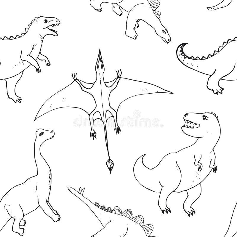 迪诺无缝的样式,逗人喜爱的动画片手拉的恐龙乱画导航例证 向量例证