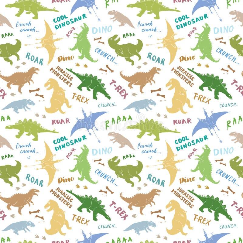 迪诺无缝的样式,逗人喜爱的动画片手拉的恐龙乱画导航例证 库存例证