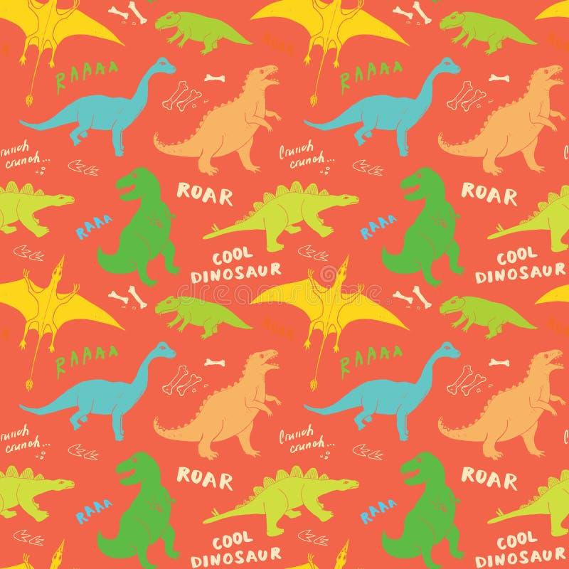 迪诺无缝的样式,逗人喜爱的动画片手拉的恐龙乱画导航例证 皇族释放例证