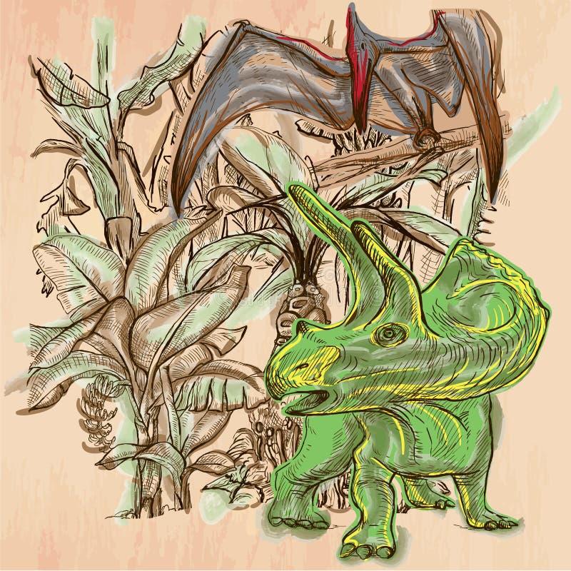 迪诺,恐龙-手拉的传染媒介 线艺术 皇族释放例证