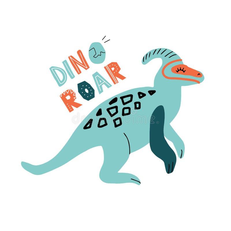 迪诺parasaurolophus颜色平的手拉的字符 与在qoute迪诺吼声上写字的逗人喜爱的幼稚恐龙 速写与 向量例证