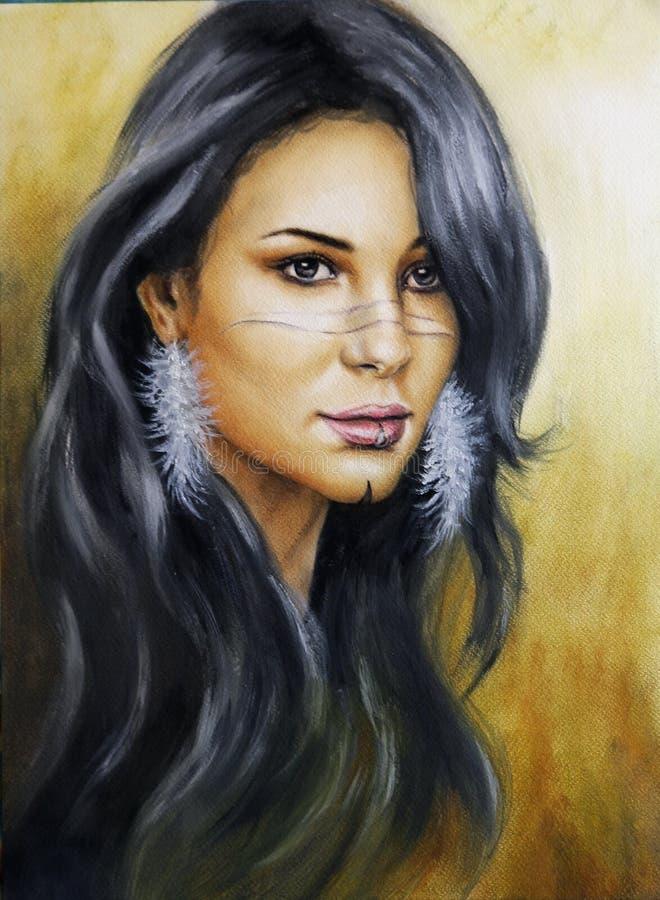 年轻迷人妇女面孔机智的美丽的气刷画象 库存例证