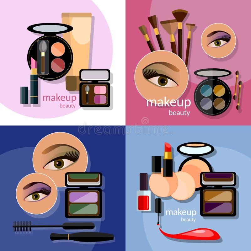 迷人构成美丽的女性眼睛的化妆用品 库存例证