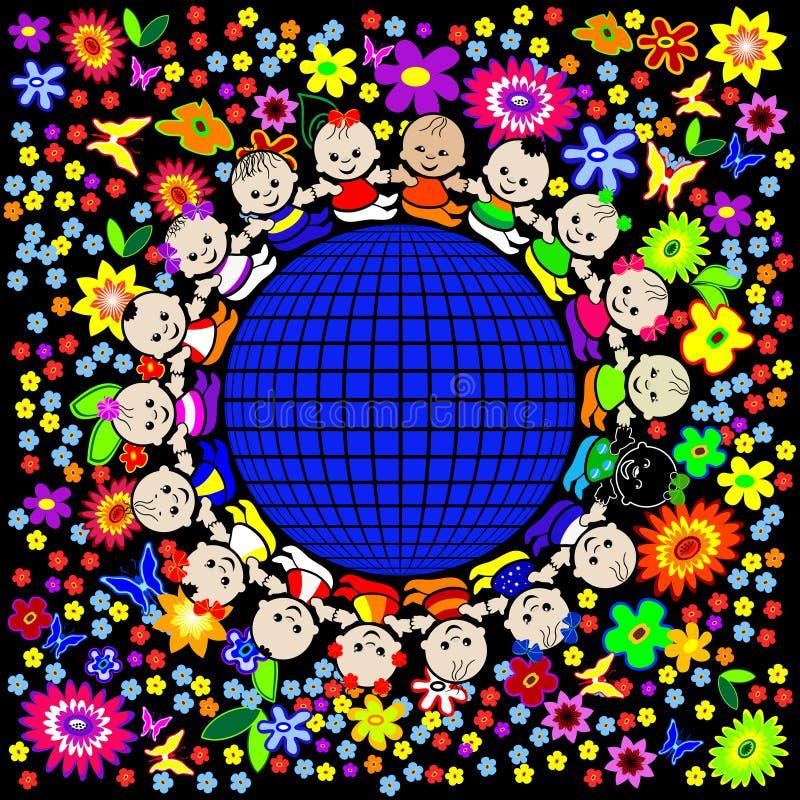 迷人的儿童地球 库存例证