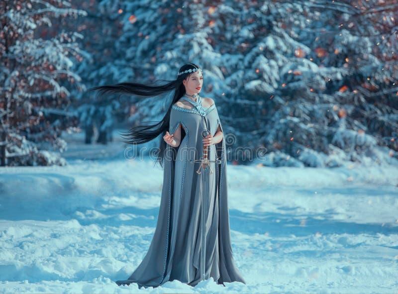 迷人的可爱的夫人在多雪的森林,有黑长的飞行的头发的好战的矮子公主拿着剑,宽松灰色温暖 库存照片