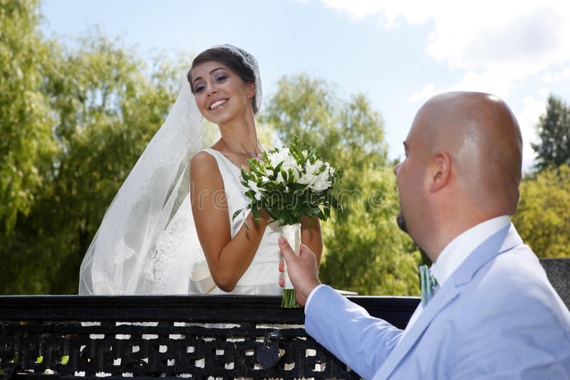 迷人的新娘和新郎 免版税库存图片