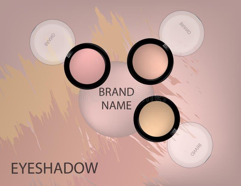 迷人的眼影产品,在3d的设计在闪耀E-F 库存例证