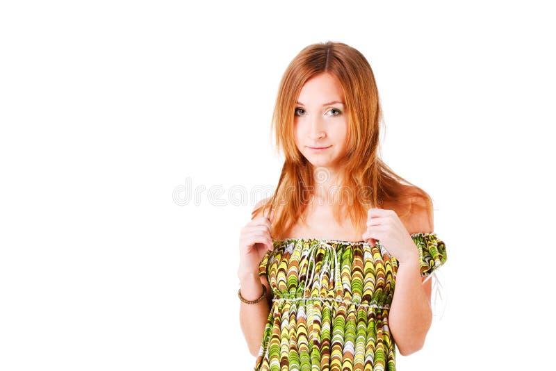 迷人的礼服女孩绿色年轻人 免版税库存图片
