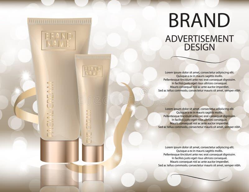 迷人的脸面护理和眼睛奶油色瓶子在闪耀的作用背景 向量例证