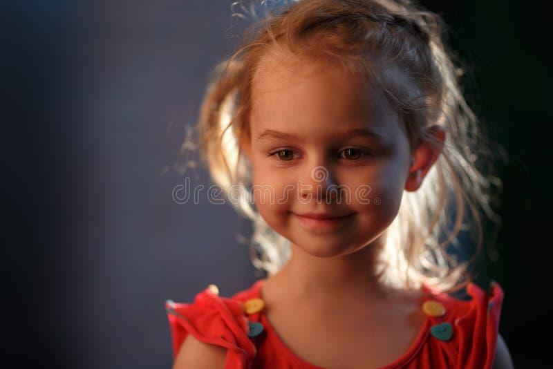 迷人的金发女孩身分外部的画象在一个温暖的夏天晚上,太阳照亮头发从 库存照片
