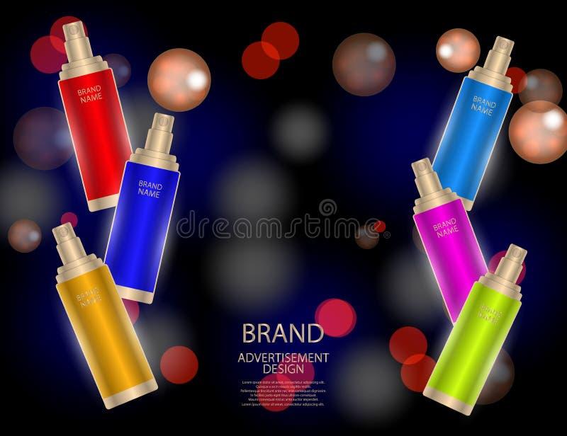 迷人的面部治疗精华在闪耀的作用背景,设计的典雅的广告设置了 库存例证