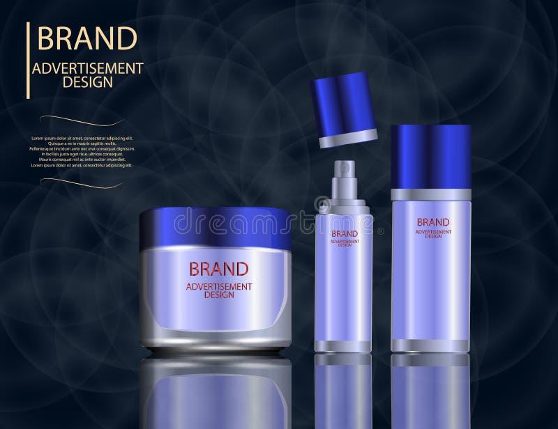 迷人的面部治疗精华在闪耀的作用背景,设计的典雅的广告设置了 皇族释放例证
