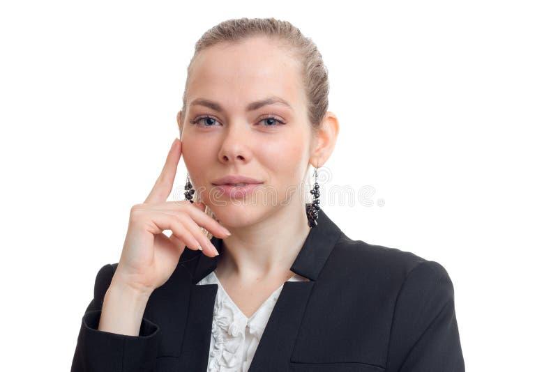 迷人的年轻企业金发碧眼的女人水平的画象  图库摄影