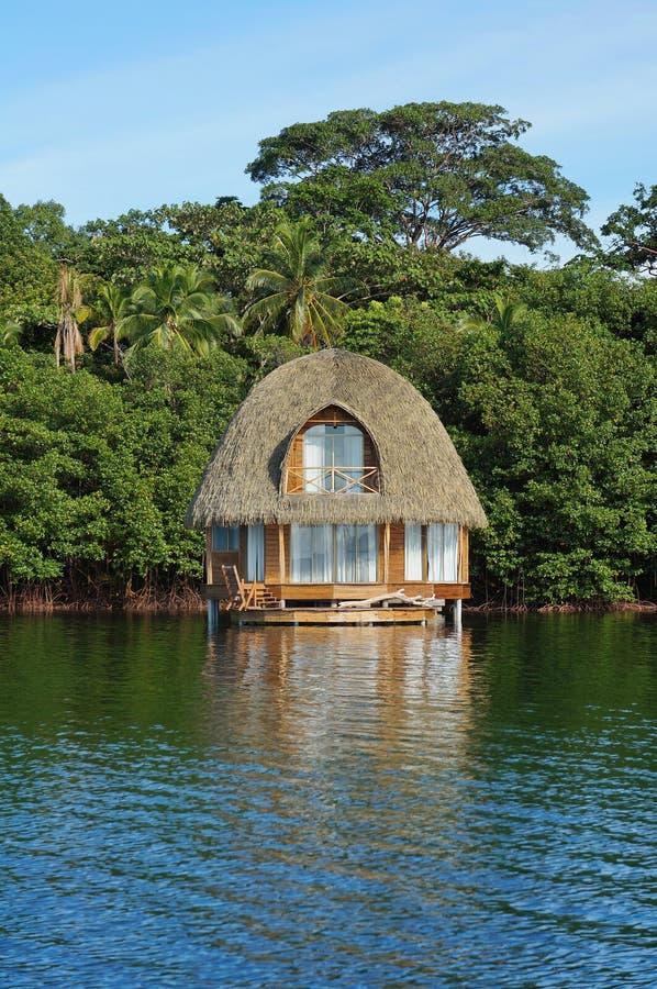迷人的overwater平房茅草屋顶屋顶加勒比 免版税图库摄影