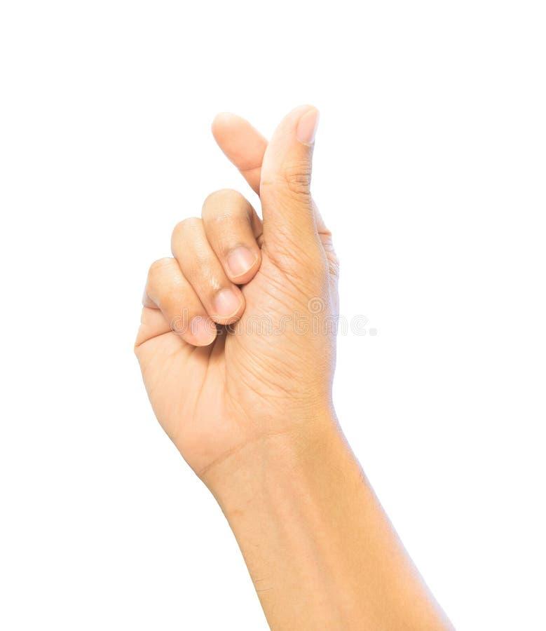 迷你心脏手指手标志姿态,爱标志趋向姿势, 免版税库存照片