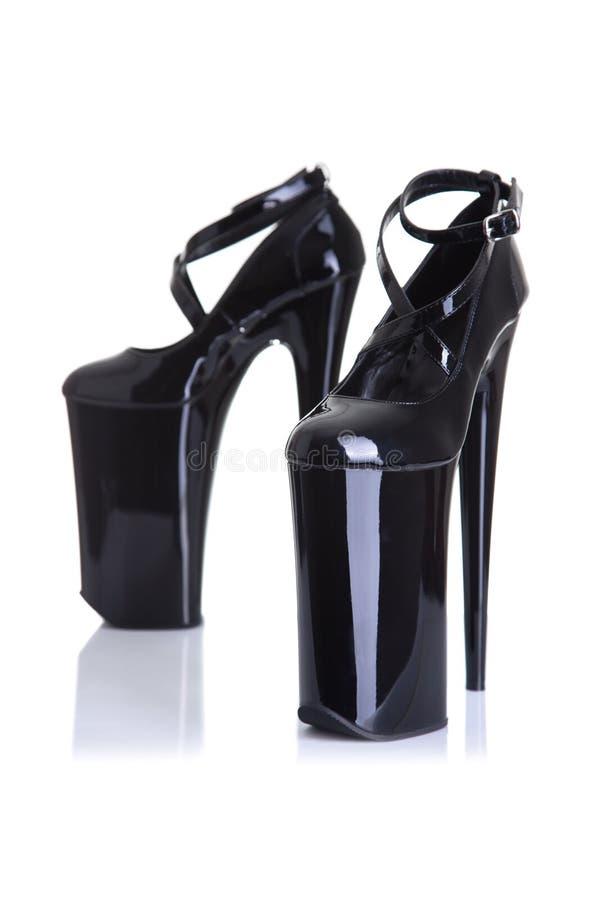 黑迷信样式高跟鞋鞋子 库存照片
