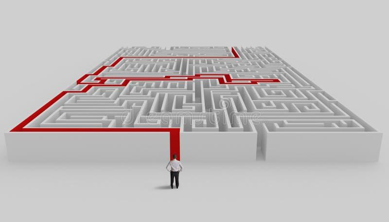 迷宫和解决方法 库存例证