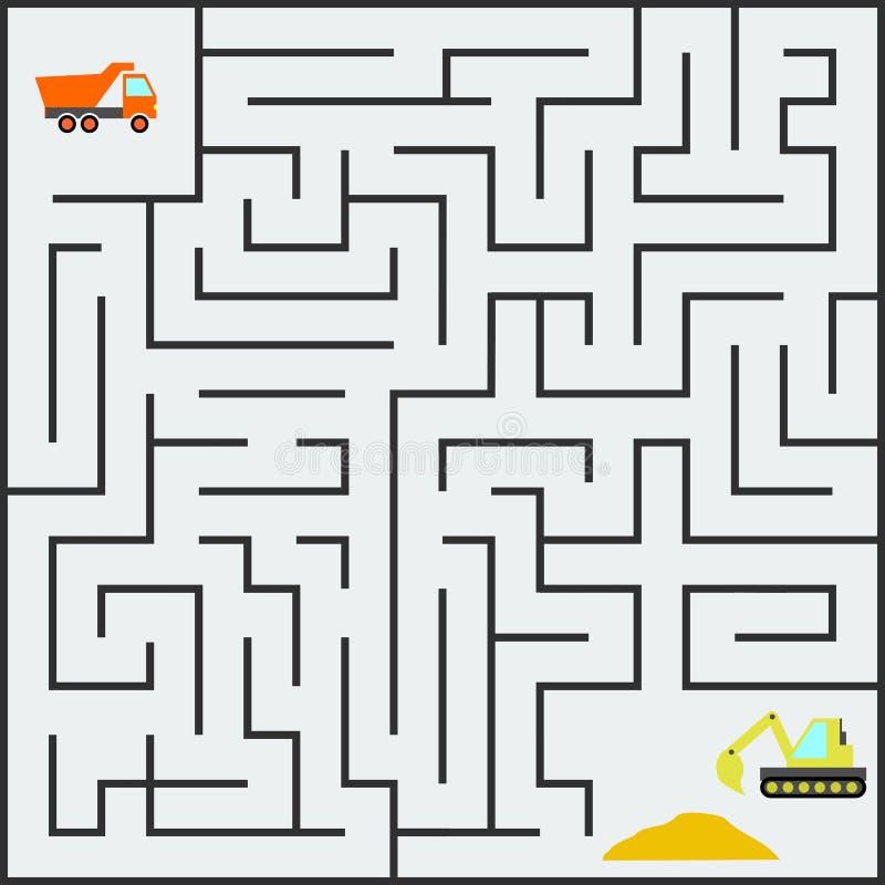 迷宫哄骗与卡车和挖掘机的比赛 向量例证