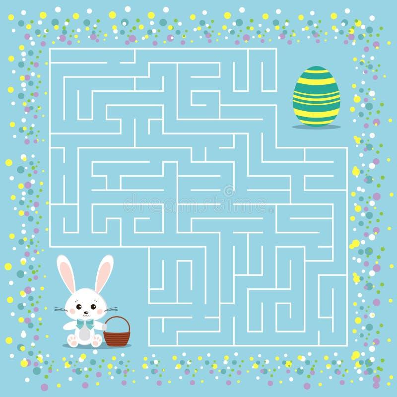 迷宫孩子的复活节比赛有迷宫的 库存例证