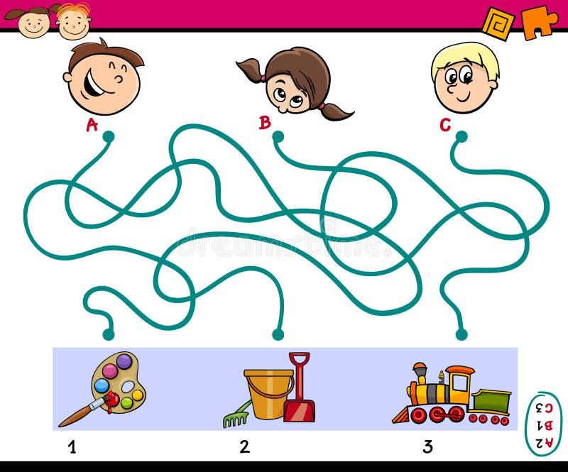 迷宫孩子的道路任务 库存例证