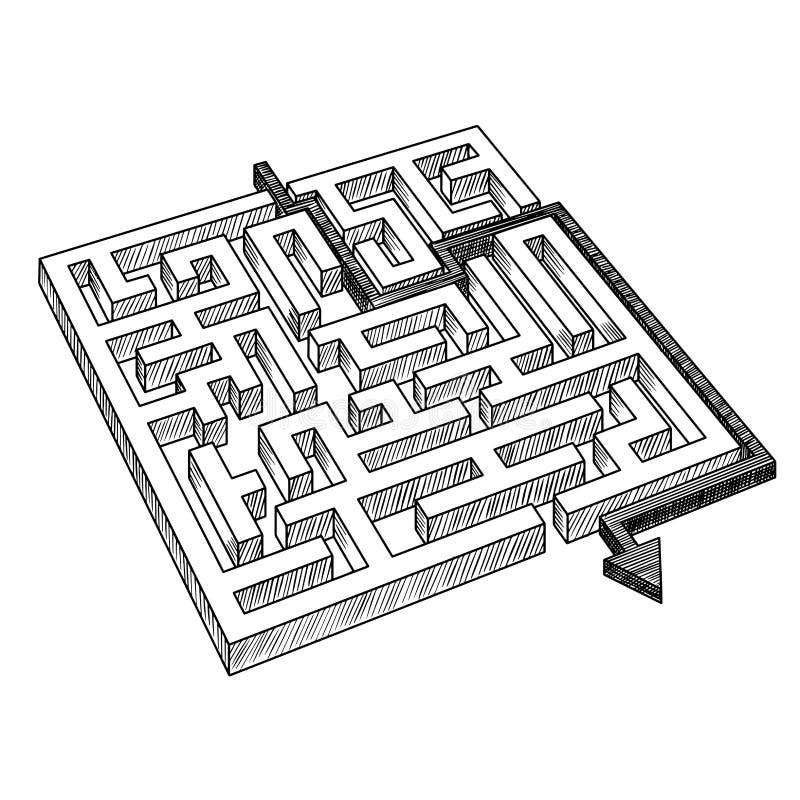 迷宫或迷宫,解决由箭头 皇族释放例证