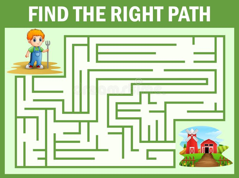 迷宫比赛发现小的农夫方式到农场 向量例证