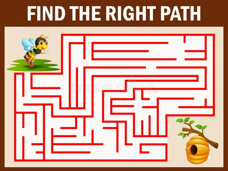 迷宫比赛发现蜂方式对蜂蜂房 向量例证
