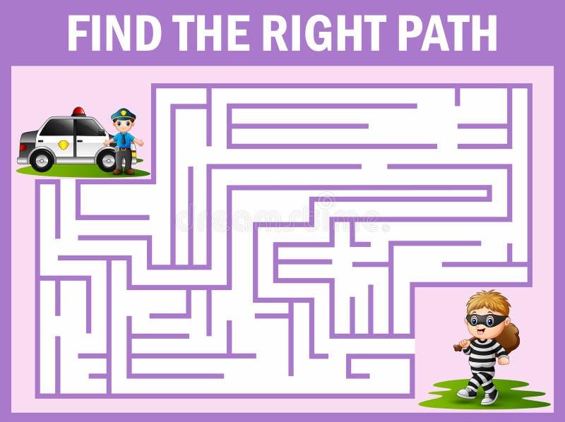 迷宫比赛发现警察方式有窃贼 向量例证