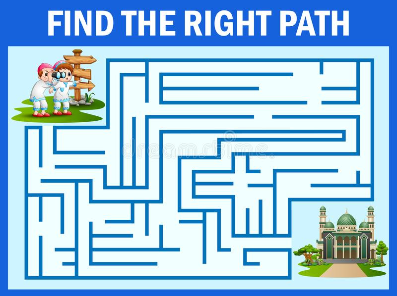 迷宫比赛寻找男孩和女孩,通往清真寺的道路 库存例证