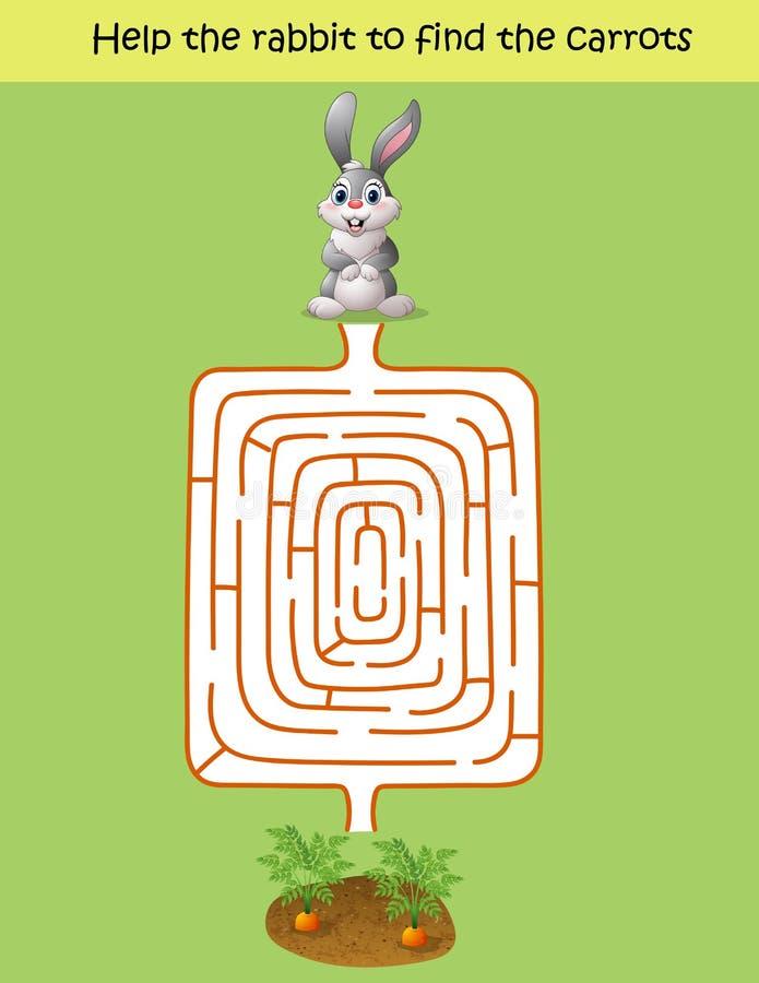 迷宫比赛,帮助兔子发现红萝卜 库存例证