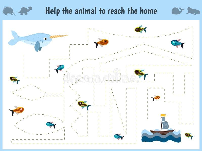 迷宫比赛 学龄前年龄的孩子的教育儿童动画片比赛 帮助发现方式家庭在海, narwhal和饲料 皇族释放例证