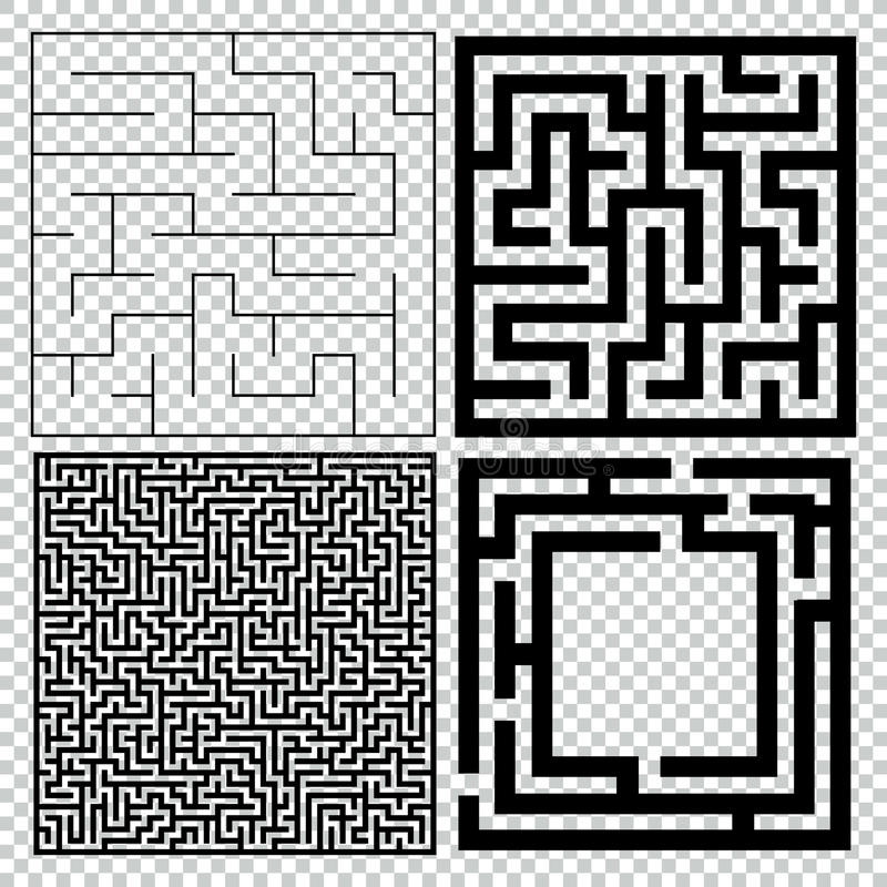 迷宫的汇集用解答 传染媒介迷宫集合 向量例证