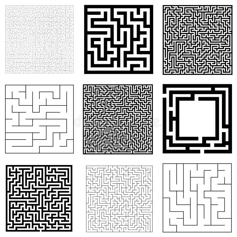 迷宫的汇集用解答 传染媒介迷宫集合 库存例证