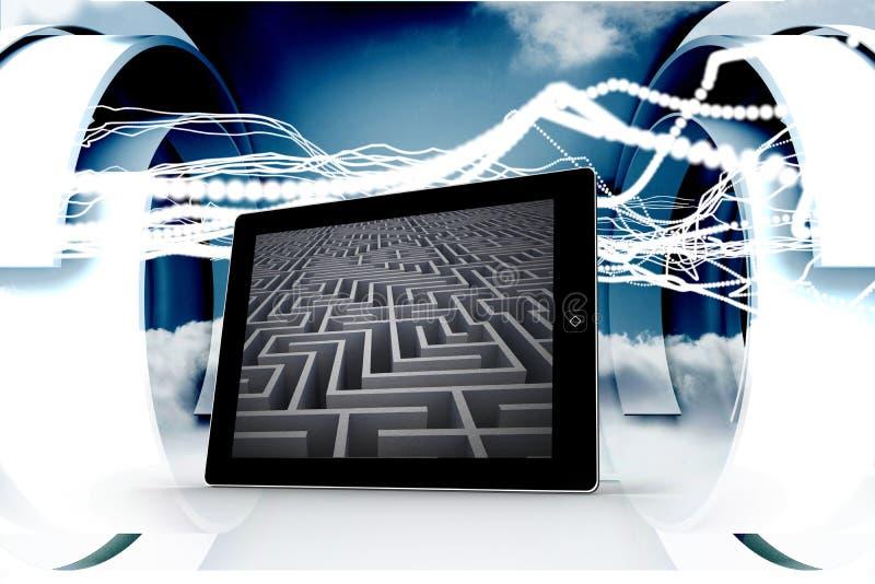 迷宫的综合图象在片剂屏幕上的 皇族释放例证