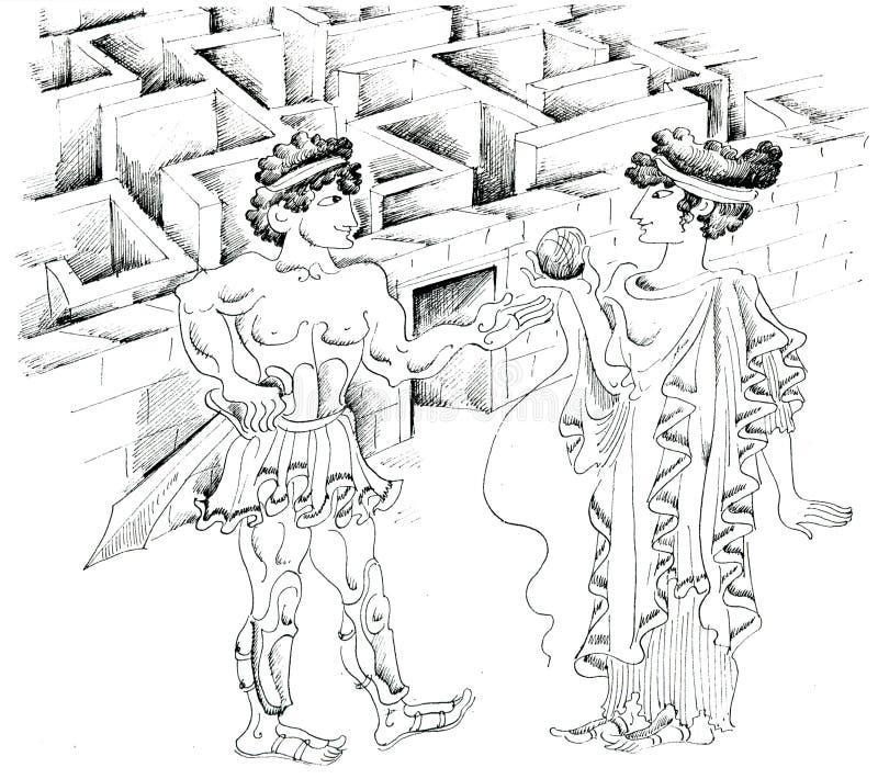 迷宫的Theseus和Ariadne 皇族释放例证