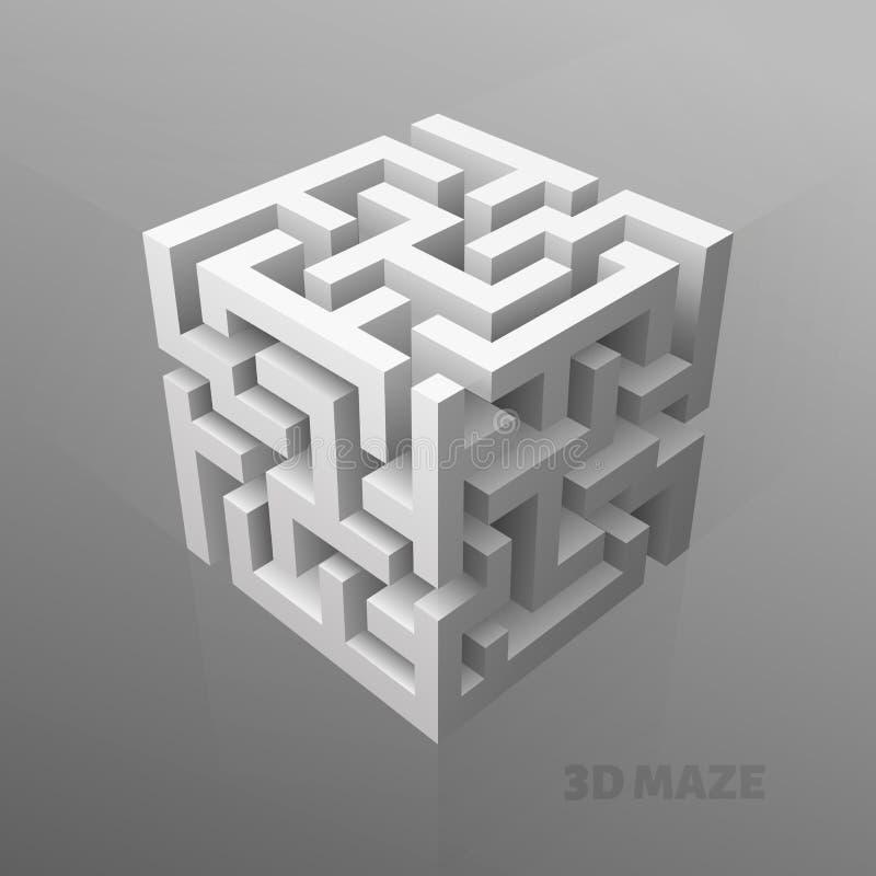 迷宫立方体 向量例证