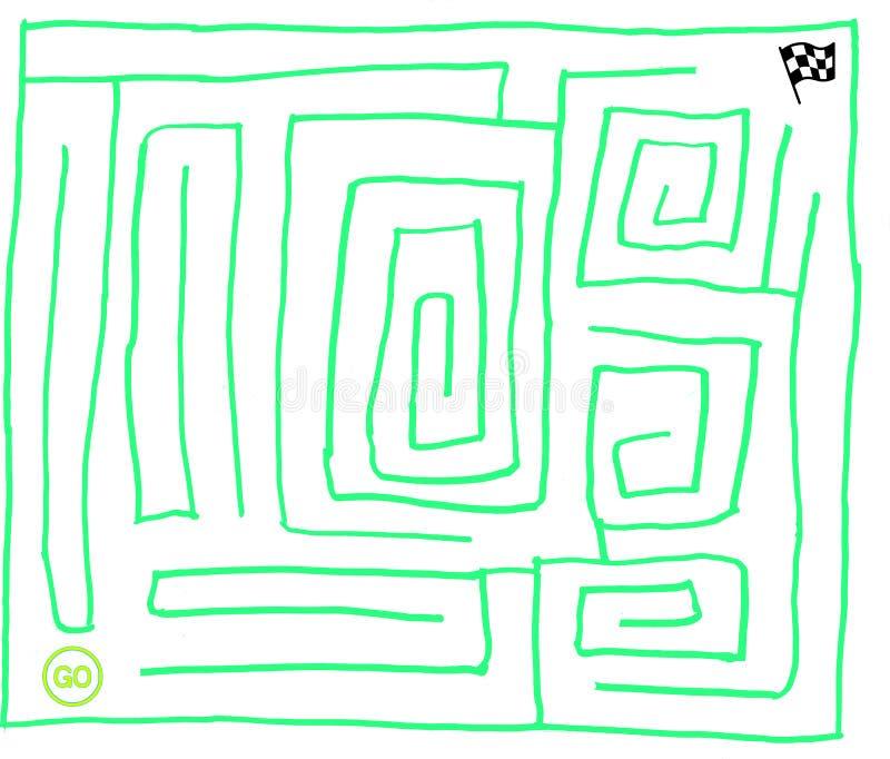迷宫第七,非常容易,萤光绿色,向量图形 皇族释放例证