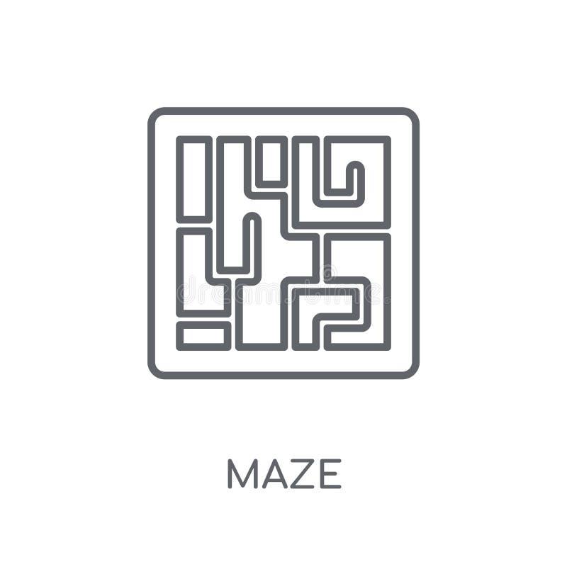 迷宫线性象 在白色后面的现代概述迷宫商标概念 皇族释放例证
