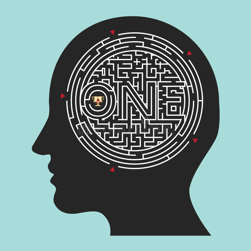 迷宫脑子;里面头脑传染媒介 库存例证