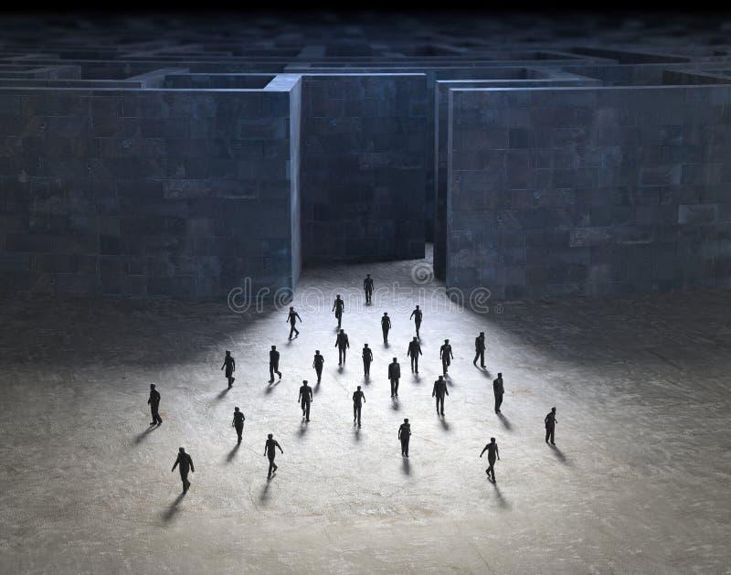 从迷宫走出去的微小的人民 库存例证