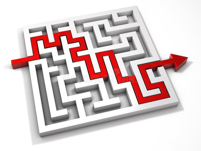 迷宫迷宫3d红色箭头 向量例证