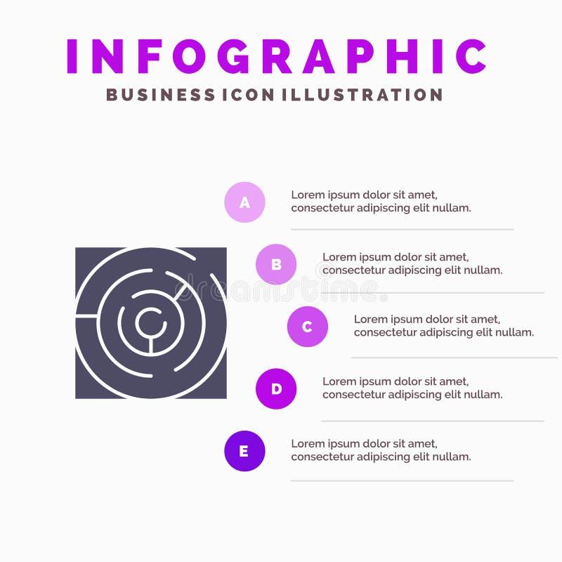 迷宫,地图,迷宫,战略,样式Infographics介绍模板 5步介绍 库存例证