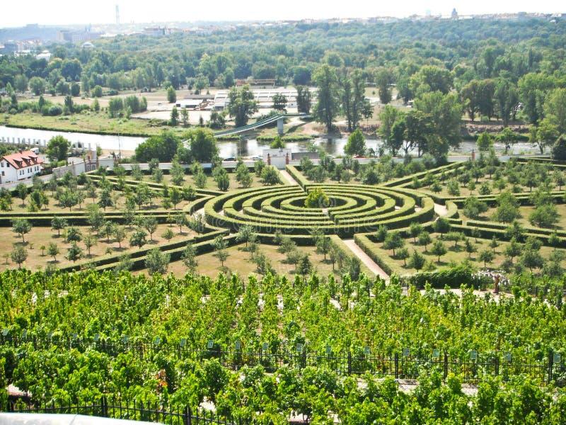 迷宫,城堡Troja,捷克 免版税库存图片