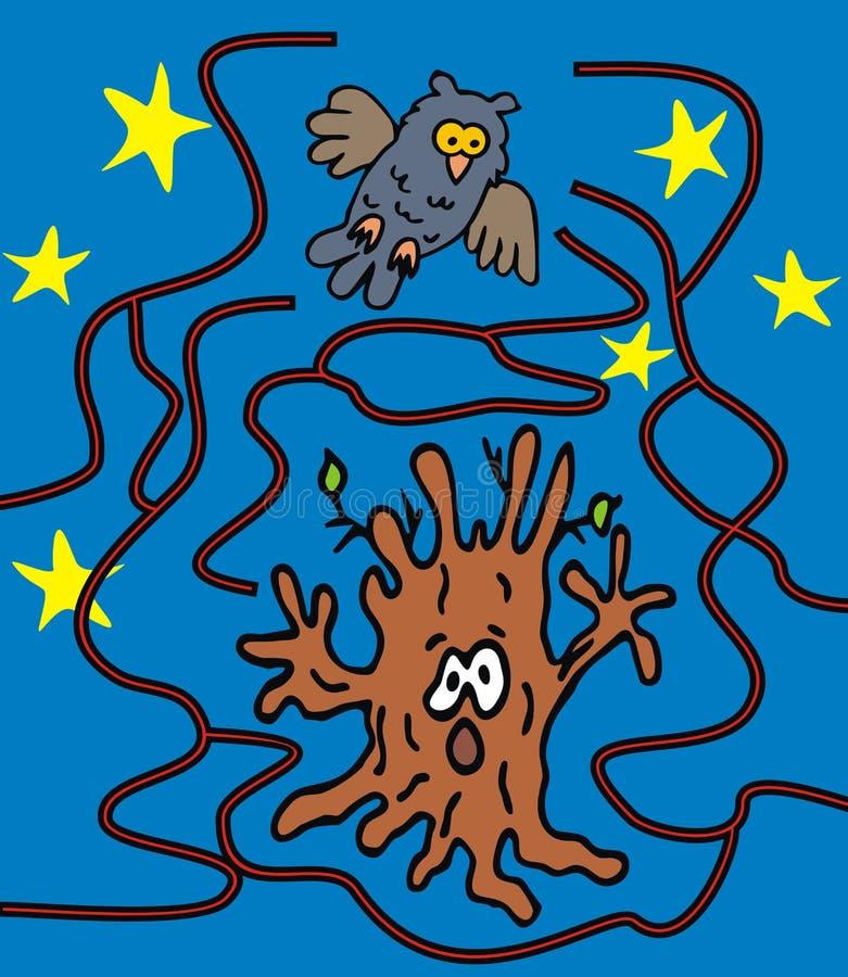 迷宫,被困扰的树 皇族释放例证