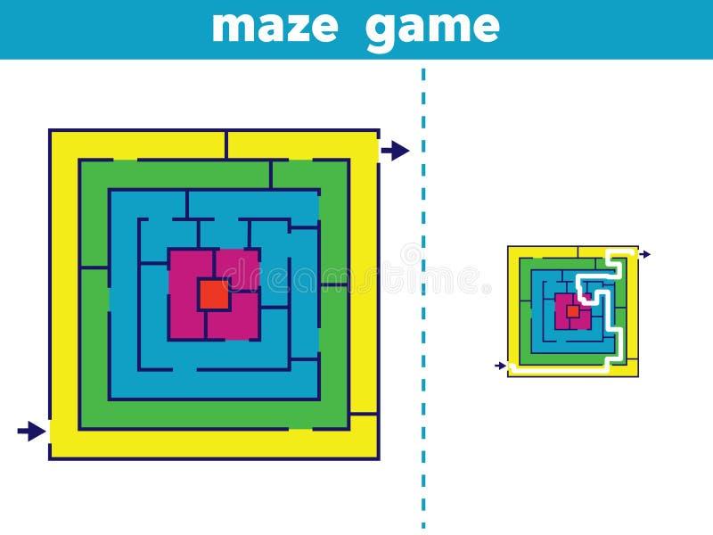 迷宫 孩子传染媒介例证的迷宫比赛 库存例证