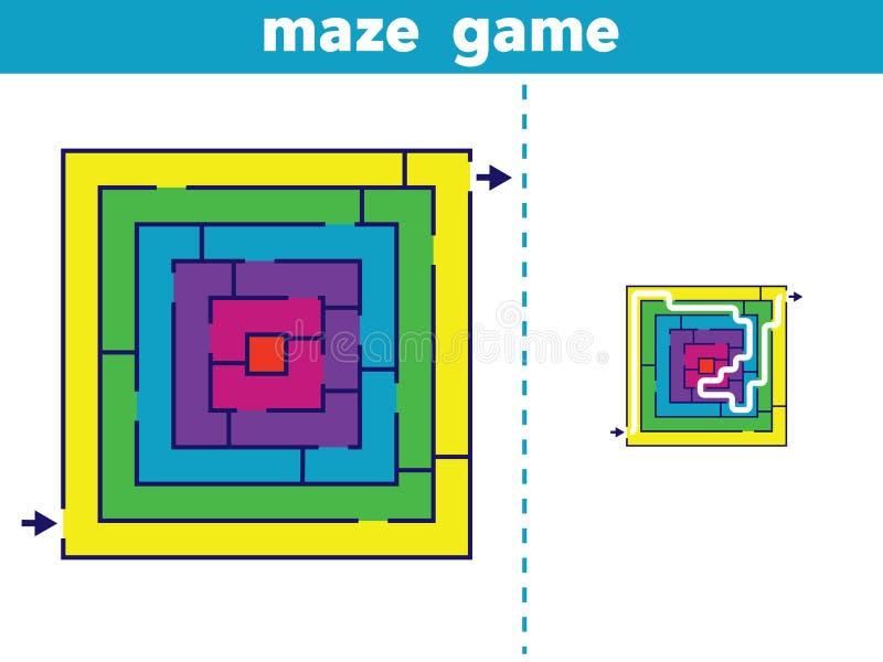 迷宫 孩子传染媒介例证的迷宫比赛 向量例证