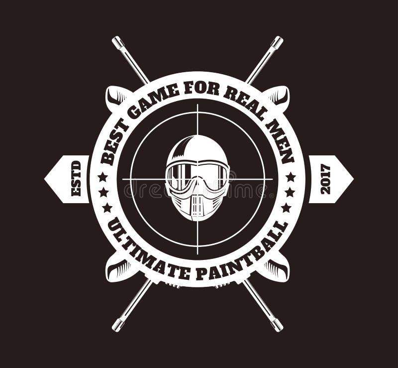 迷彩漆弹运动俱乐部品脱球枪步枪商标模板横渡了与丝带 向量例证