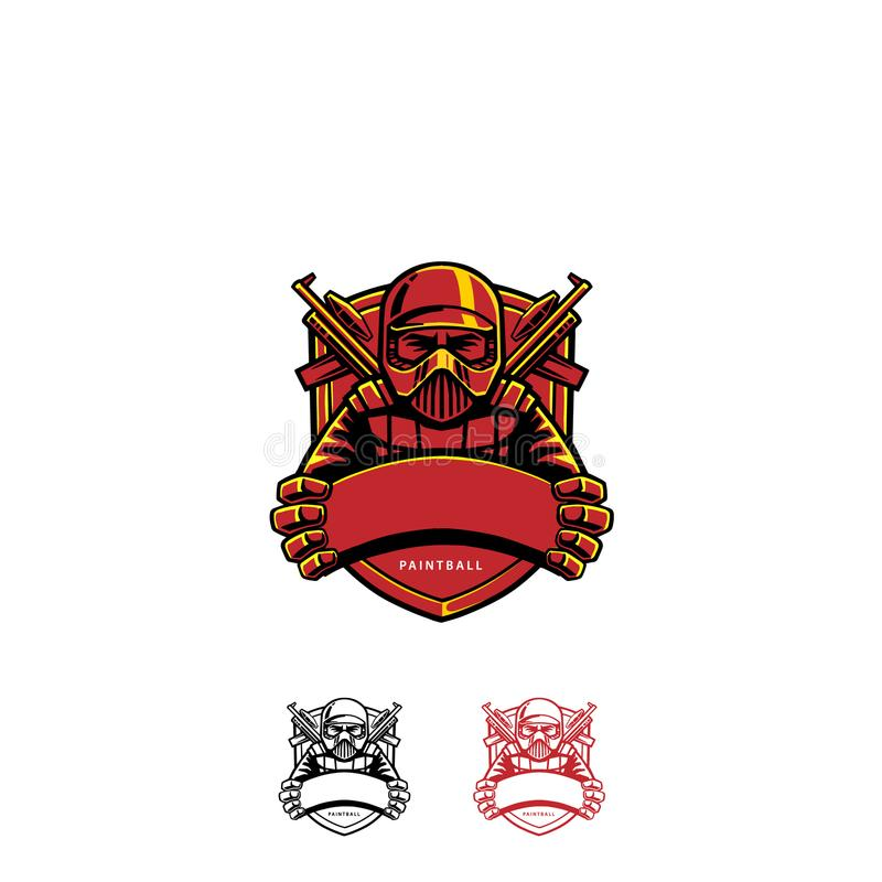 迷彩漆弹运动商标徽章 皇族释放例证