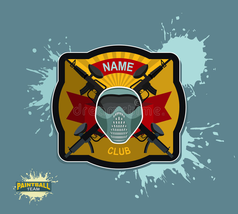 迷彩漆弹运动商标象征 迷彩漆弹运动枪和翼 临死纹章 库存例证