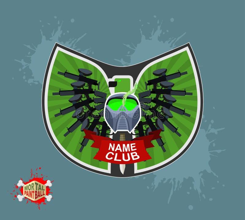 迷彩漆弹运动商标 有翼的盾 皇族释放例证
